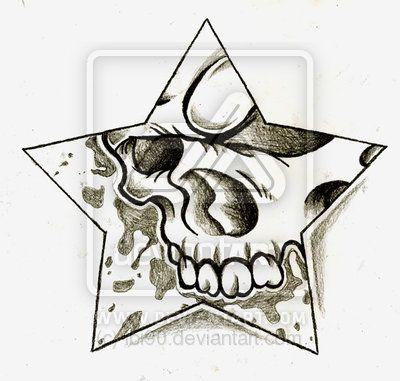 Star And Skull Tattoo Flash Art Flash Art Art