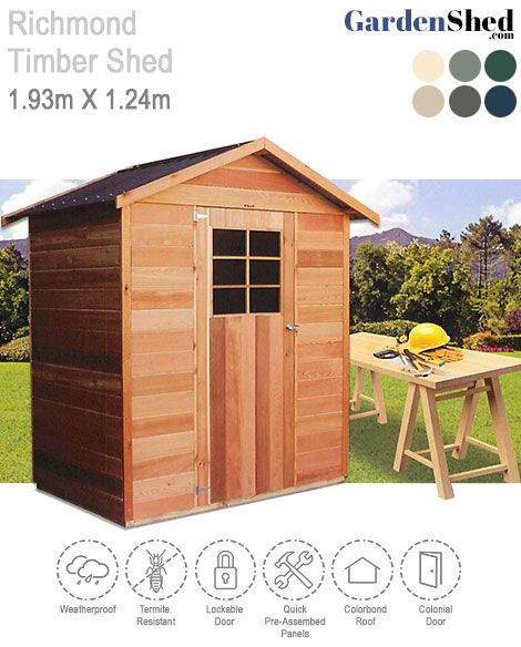 Best Richmond Timber Shed 1 93M X 1 24M Cedar Timber Garden 400 x 300