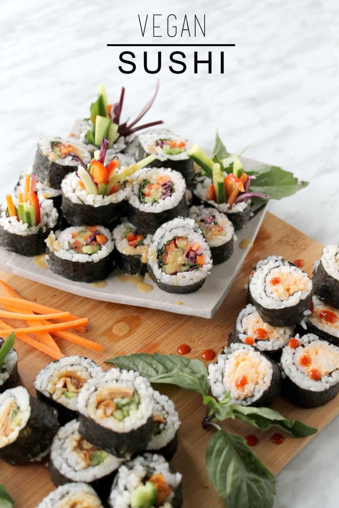 Healthy Vegan Sushi Rainbow Roll Spicy Cauli Teriyaki Mushroom