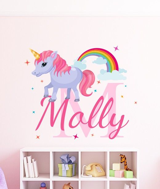 Add some fun with this wonderful personalised unicorn name wall sticker perfect for your little