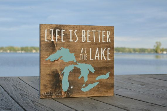 Life Is Better At The Lake Michigan Wood Sign Wall Home Decor Painted Signs Wooden Signs Wood Signs
