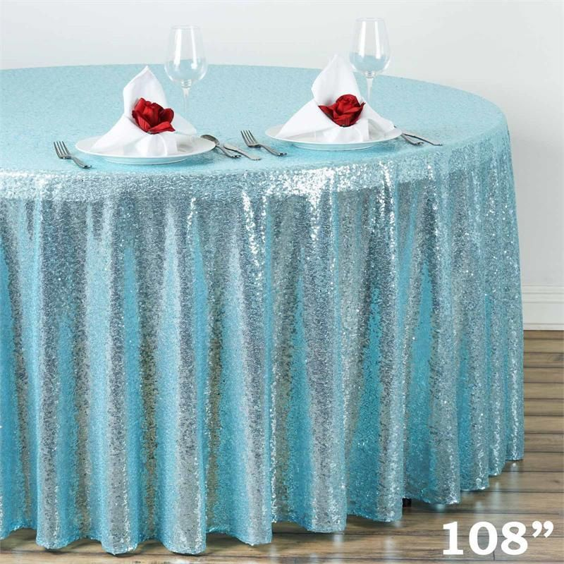 108 Round Sequin Tiffany Blue Tablecloth Ready To Ship Wedding