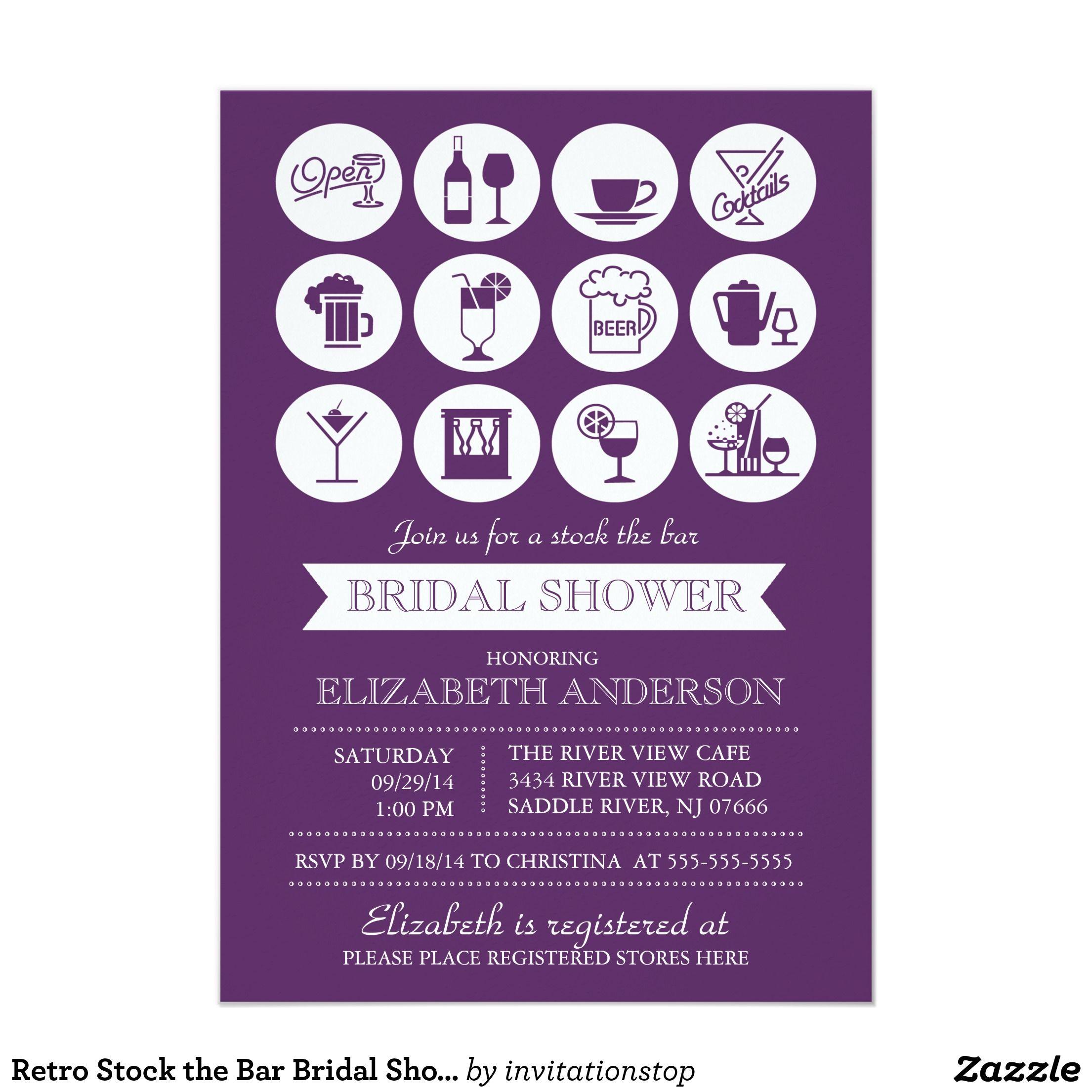 Retro Stock the Bar Bridal Shower Invitation | Shower invitations ...