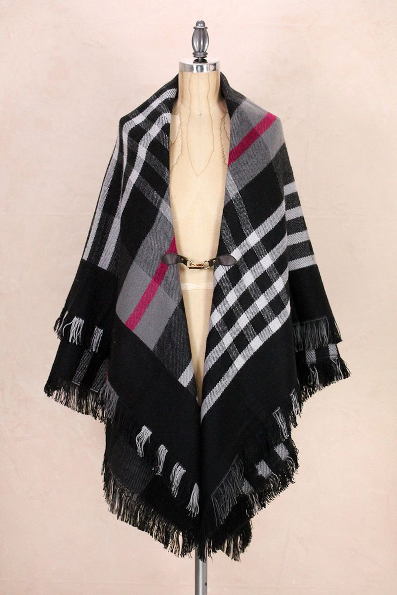Look by M Plaid Shawl with Buckle for Women in Black