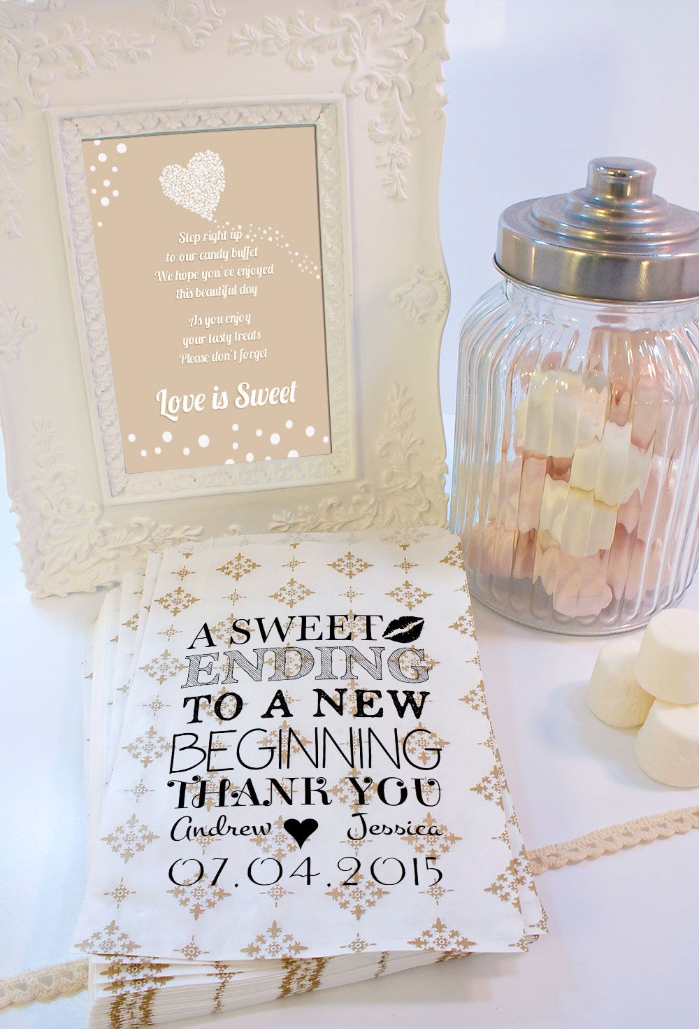 Personalised Wedding Sweet Bags A Ending Candy Cart Favours Confe