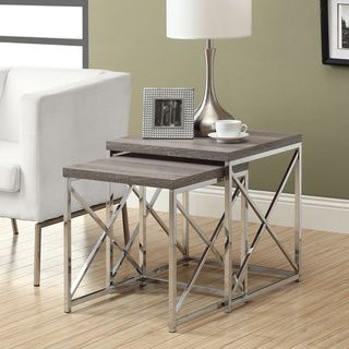 @Overstock.com   Dark Taupe Reclaimed Wood Chrome Nesting Tables (Set Of 2 Part 54