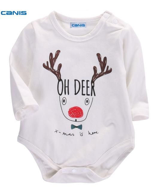 cebe670e2 CANIS 2017 Lovely Newborn Baby Boys Girls Christmas Deer Long Sleeve  Bodysuit 0-18 Month