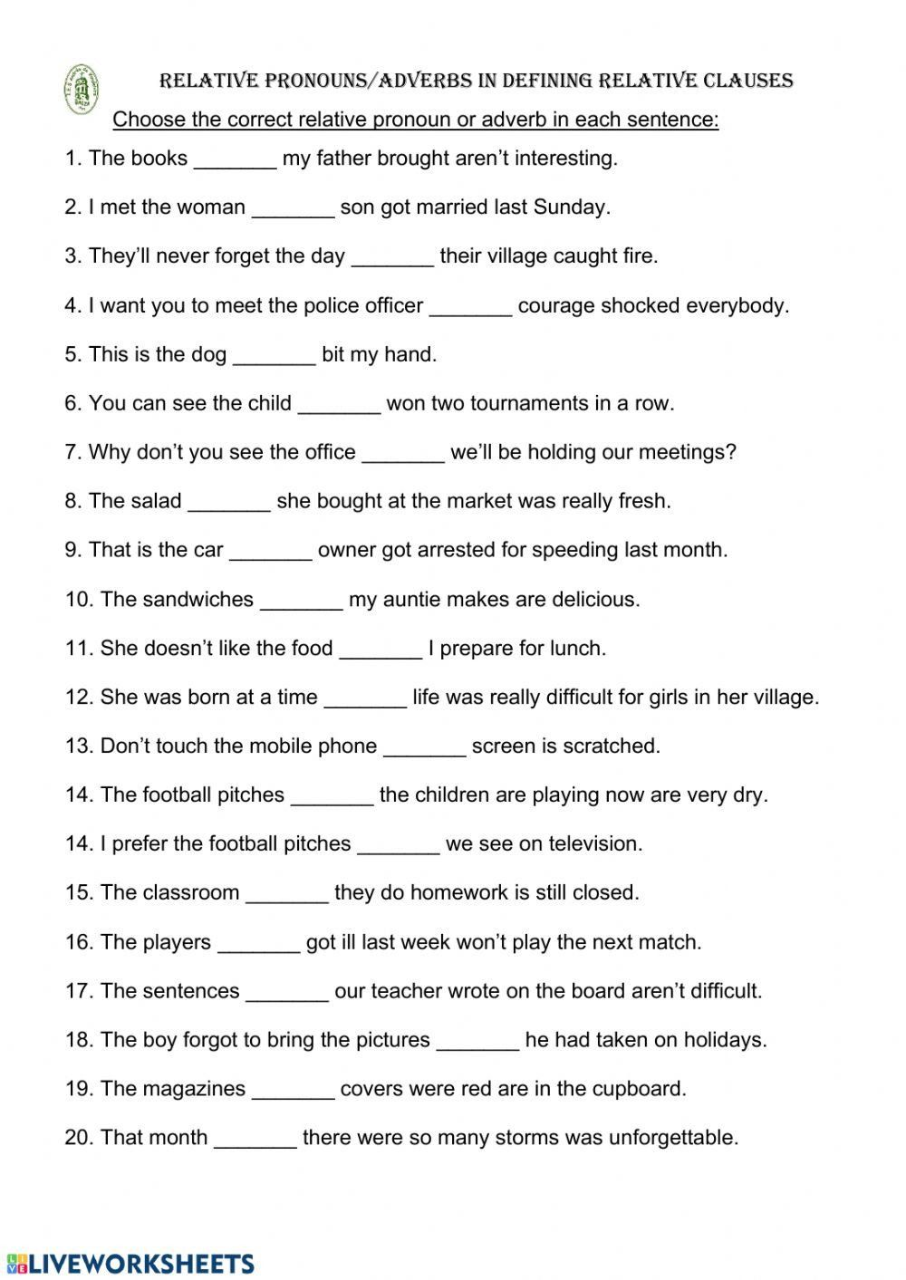 Relative Pronouns Worksheet with Answers Relative Pronouns