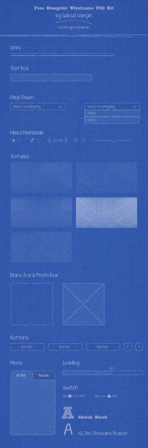 Free blueprint wireframe psd kit design resources pinterest ui kits for web mobile uiux design design malvernweather