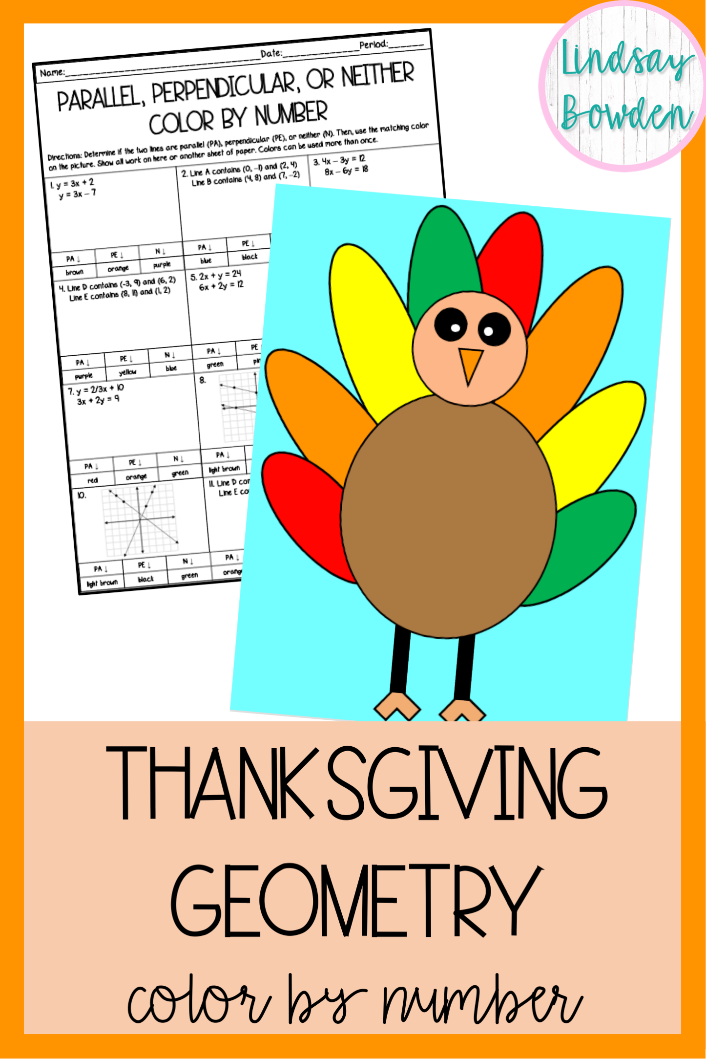 Thanksgiving Math Parallel Perpendicular Or Neither
