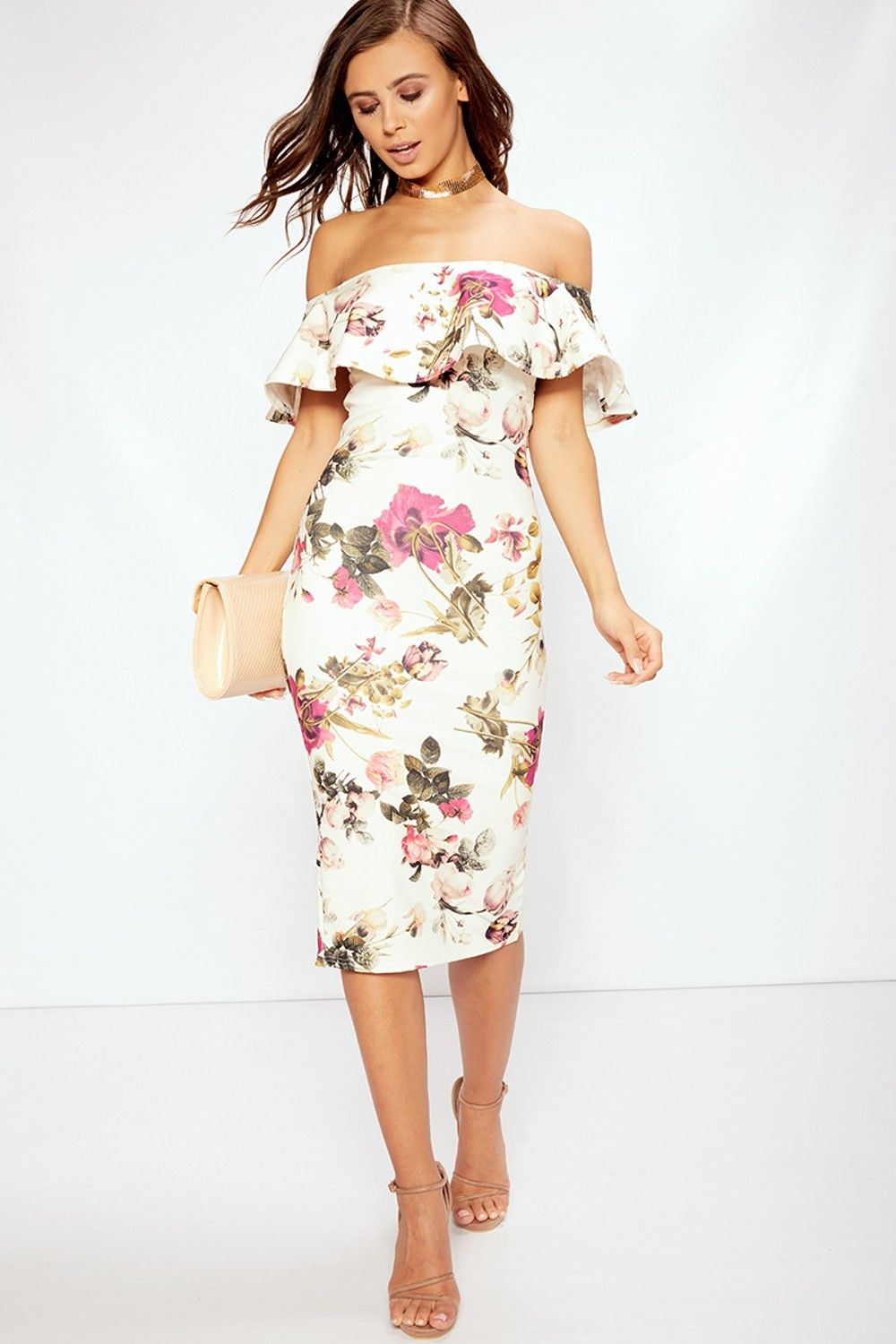 ffdf893ce89 Angie Black Floral Bardot Midi Dress