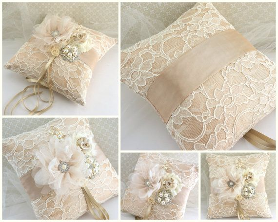 Wedding Ring Pillow Champagne Ivory Gold With Lace And Pearl