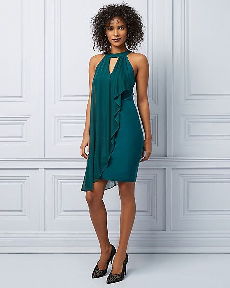 a0b13f8109b Knit Halter Neck Ruffle Cocktail Dress - Cascading ruffles flow beautifully  from the halter neckline of this fitted cocktail dress.