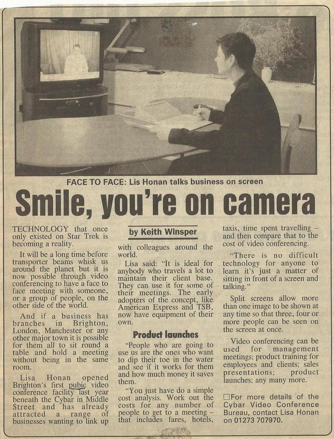 Smile You Re On Camera An Old Newspaper Article About Eyenetwork And Video Conferencing Old Newspaper Vintage Newspaper Newspaper Article