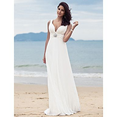 Sheath/ Column V-neck Sweep/ Brush Train Chiffon Wedding Dress ...