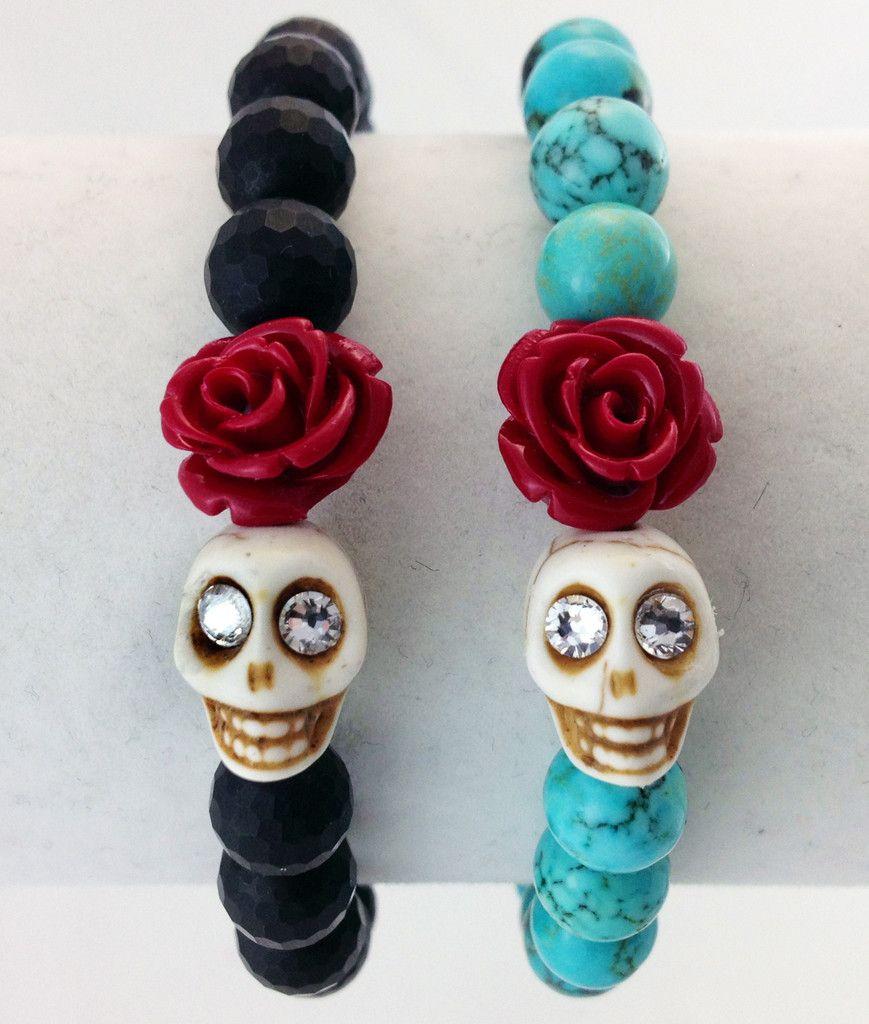 Crystal Eyed Skull with Rose Beaded Bracelet.  Adorable!  www.beadbitches.com