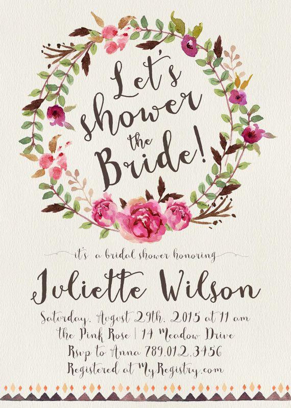 Winter Bridal Shower Invitation Printable, Boho Chic Watercolor - free printable wedding shower invitations templates