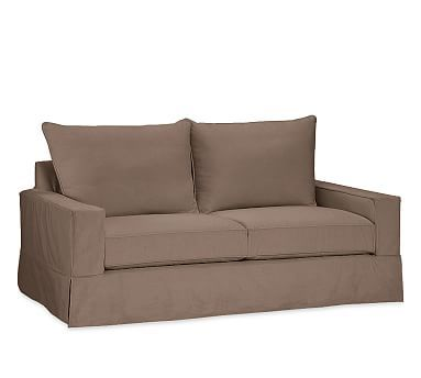 PB Comfort Square Arm Deluxe Sleeper Sofa Slipcover, Knife Edge, Performance Everydaysuede(TM) Coffee