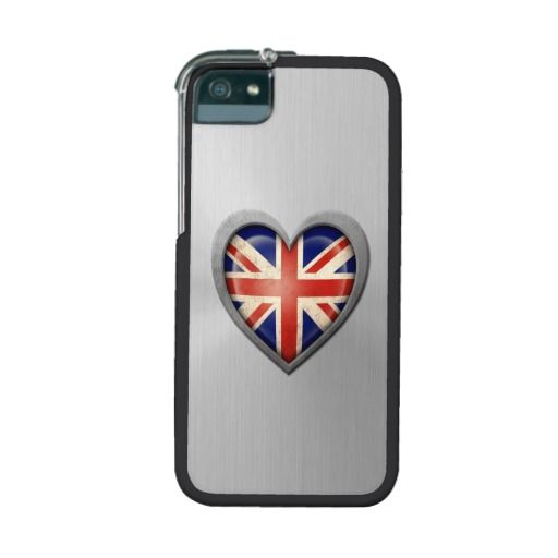 British Heart Flag Stainless Steel Effect iPhone 5/5S Case