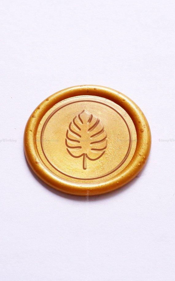 Monstera Sealing Wax Stamp - Leaf Wax Seal Stamp - Monstera Wax Seal