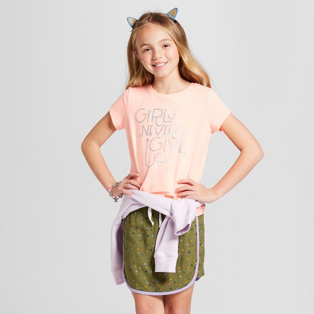 cbe9805ec Girls' Short Sleeve Girls Never Give Up Graphic T-Shirt - Cat & Jack Peach  XL, Orange