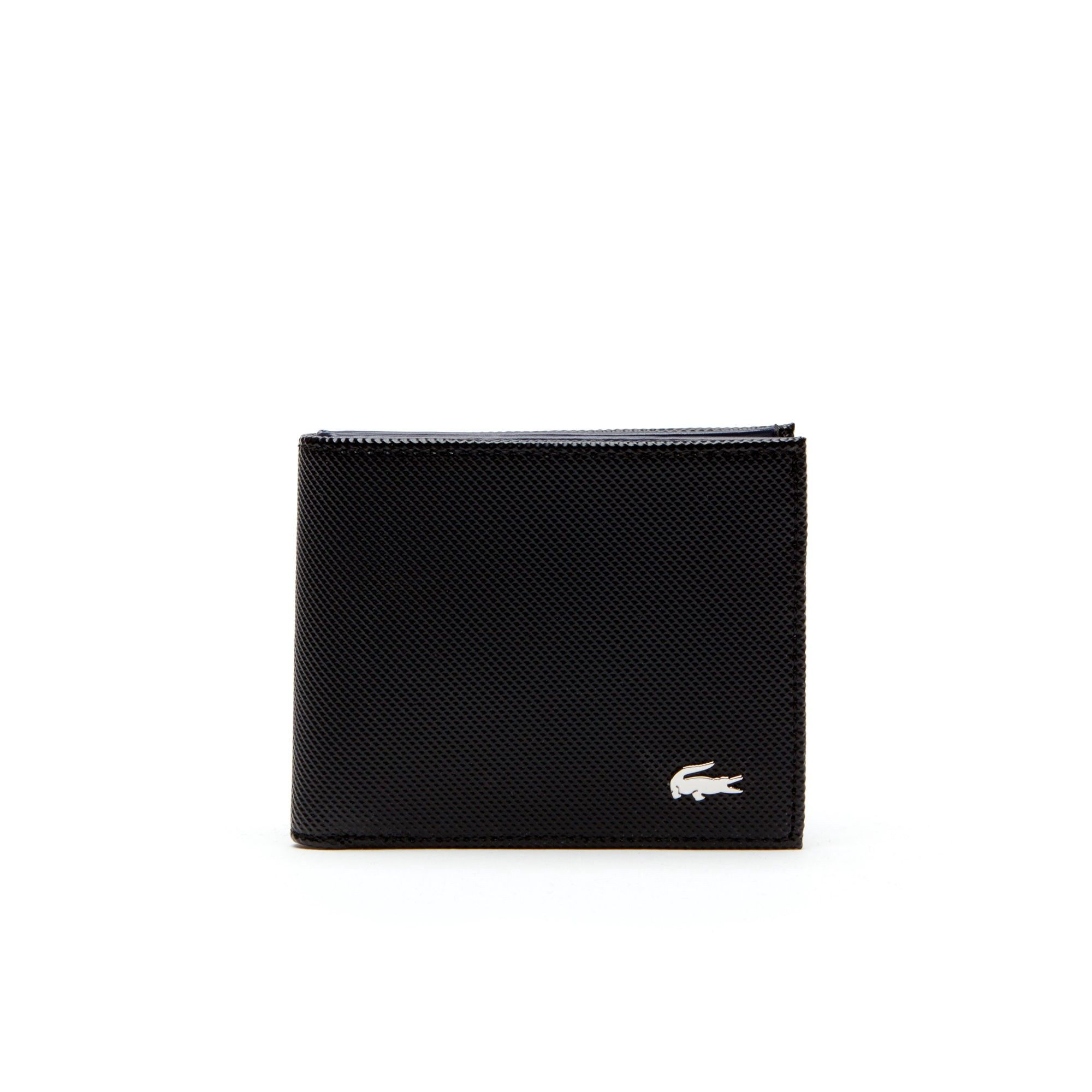 lacoste men s edward coated leather wallet with tricolor accents
