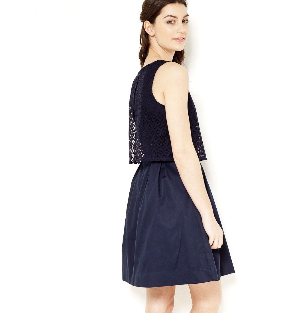 robe avec haut dentelle bleu marine cama eu 2017 mode pinterest haut dentelle dentelle. Black Bedroom Furniture Sets. Home Design Ideas