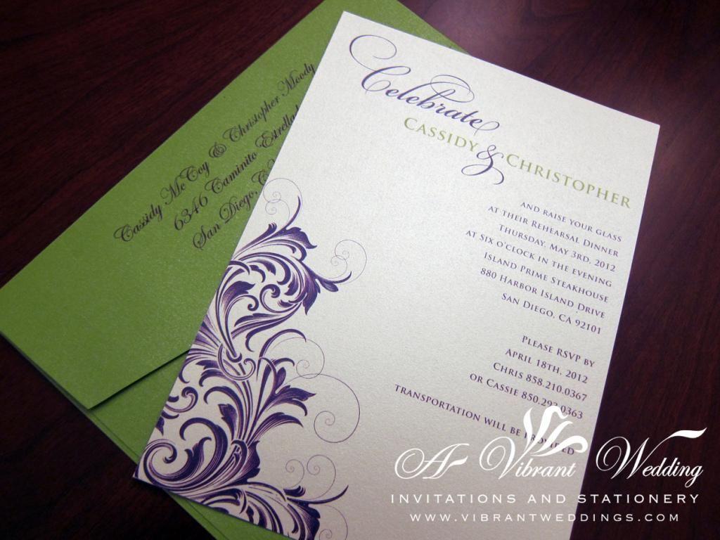 Purple and Green Wedding Invitation by vibrantweddings.com | Purple ...