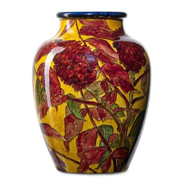 John Bennett Vase W Flowers On Yellow Ground Vibrant Vases