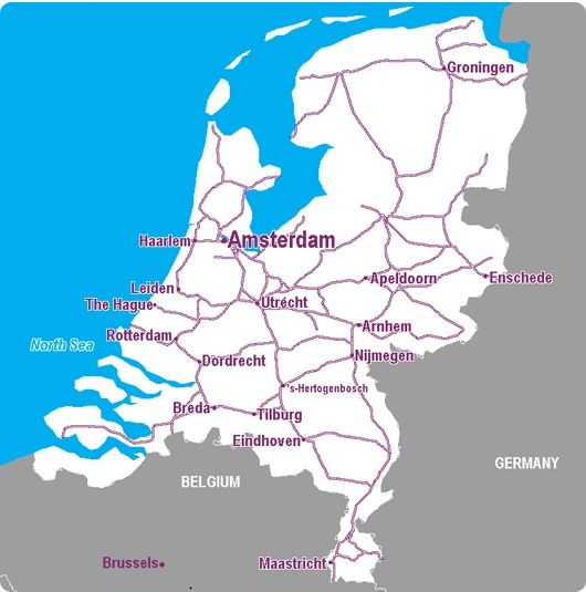 The Netherlands Rail Map Rail Maps Pinterest