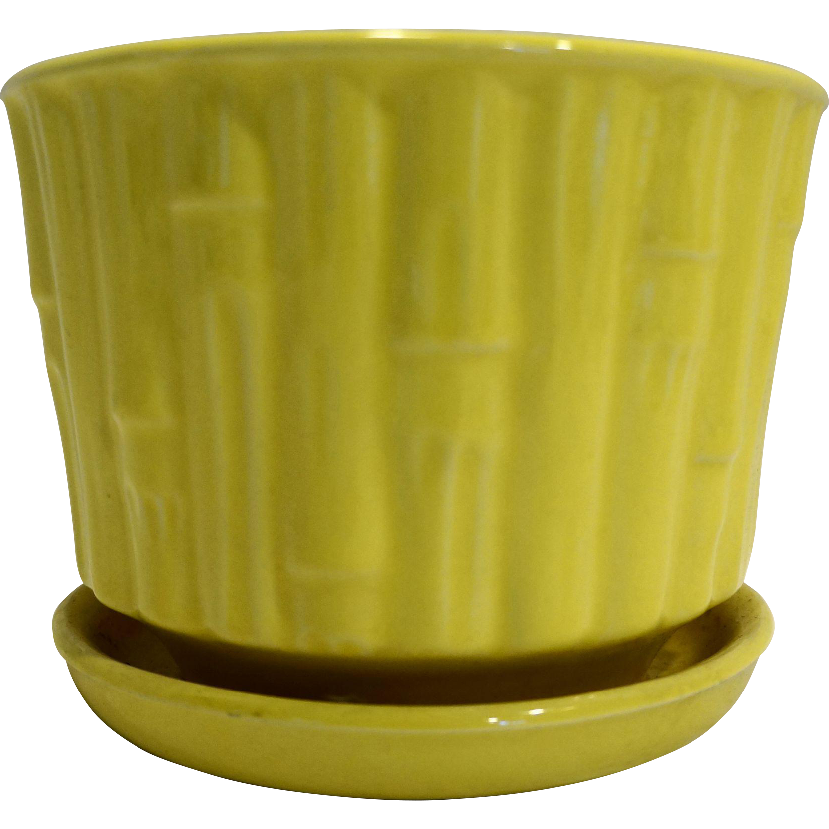 Mccoy Bamboo Bright Yellow Flower Pot Planter With Saucer 0373 1970s