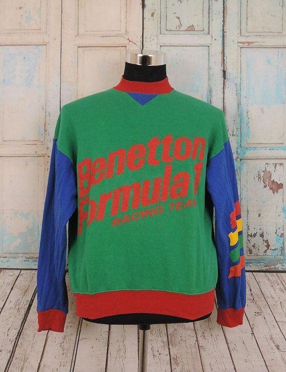 linge de lit benetton Rare Vintage BENETTON Formula 1 Racing Team Sweatshirt Sport  linge de lit benetton