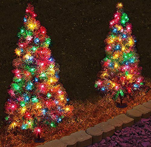 Set of 4, Pre-Lit 3\u0027 Tall Artificial Pathway Christmas Trees Best