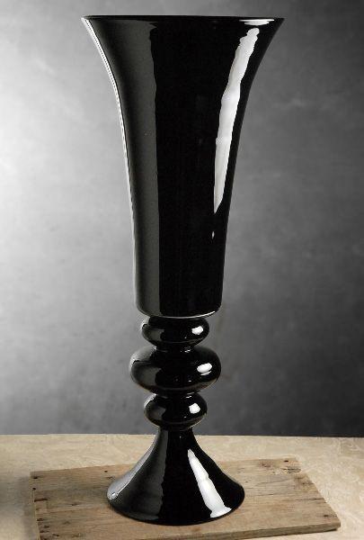 Black Glass Fluted Vase On Pedestal 30in Great Website For