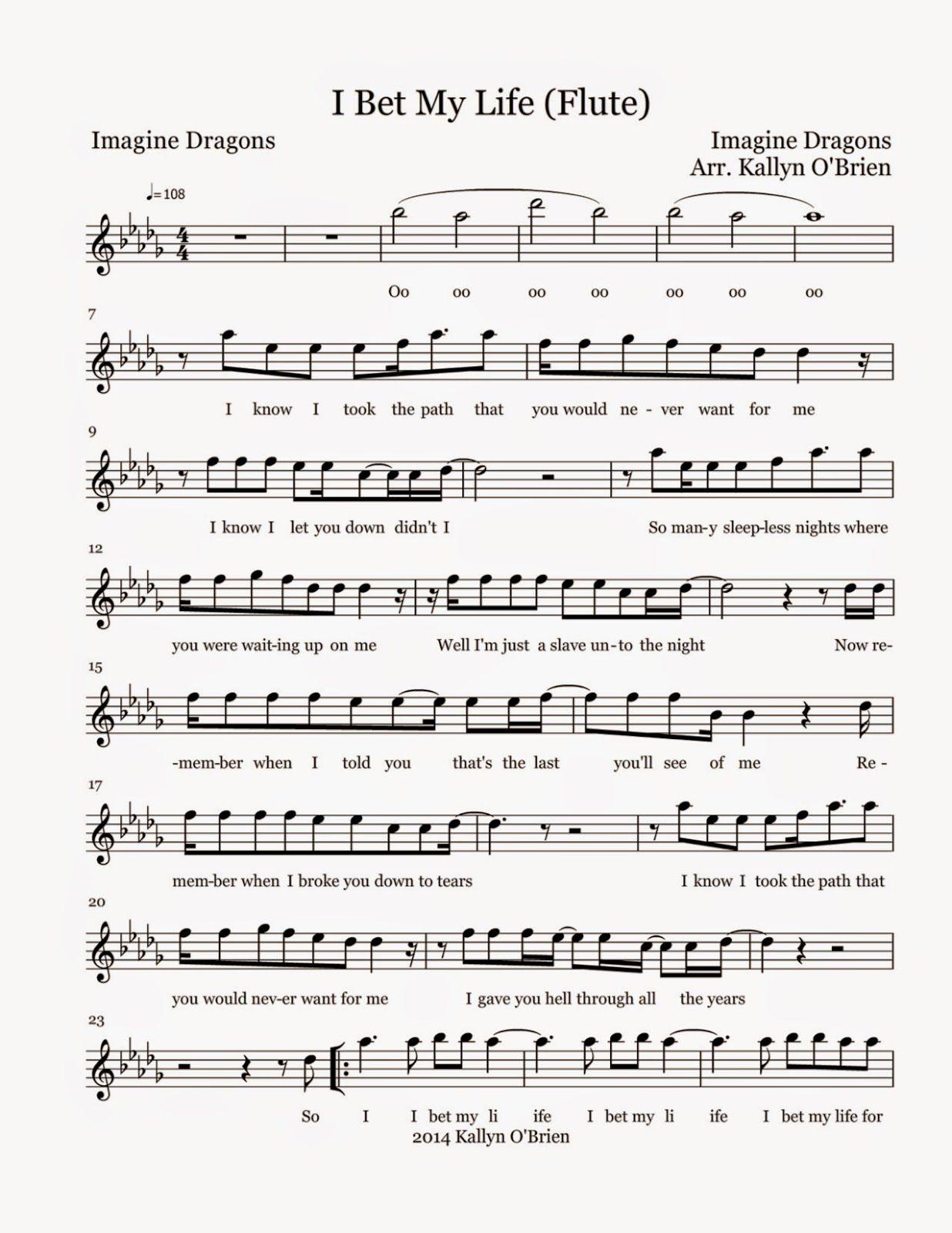 Flute Sheet Music I Bet My Life Sheet Music Sheet