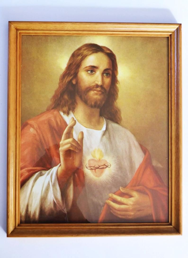 JESUS CHRIST POSTER Corazon Heart Art Print RARE