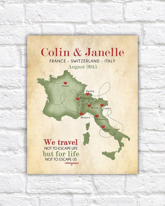 European Vacation Map, Honeymoon, Wedding, France, Switzerland ...