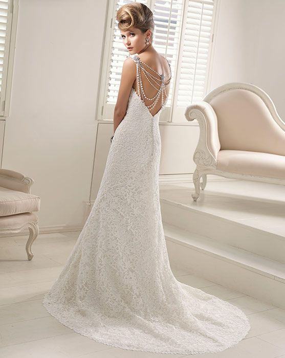Pure White V-neck Mermaid Wedding Dress with Delicate Pearl Straps_Mermaid_Wedding Dresses_Wedding Dresses Online Stores,Cheap Wedding Accessories at Impresshow