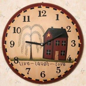 Primitive Saltbox Live Love Laugh Decorative Wall Clock Country Wall Clock Clock Wall Decor Wall Clock