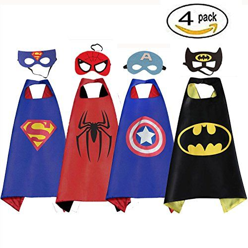 Halloween Cartoon Hero Costumes and Dress up for Kids Perfect Party Costume Cloak and mask White sugar in summer
