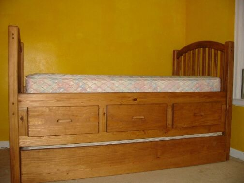 Sy Solid Wood Twin Bed With Drawers And Trundle Kid Tough Plenty Strong For S Built To Order In Columbus Ohio