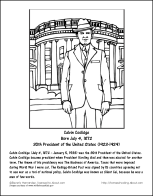president calvin coolidge coloring sheets google search