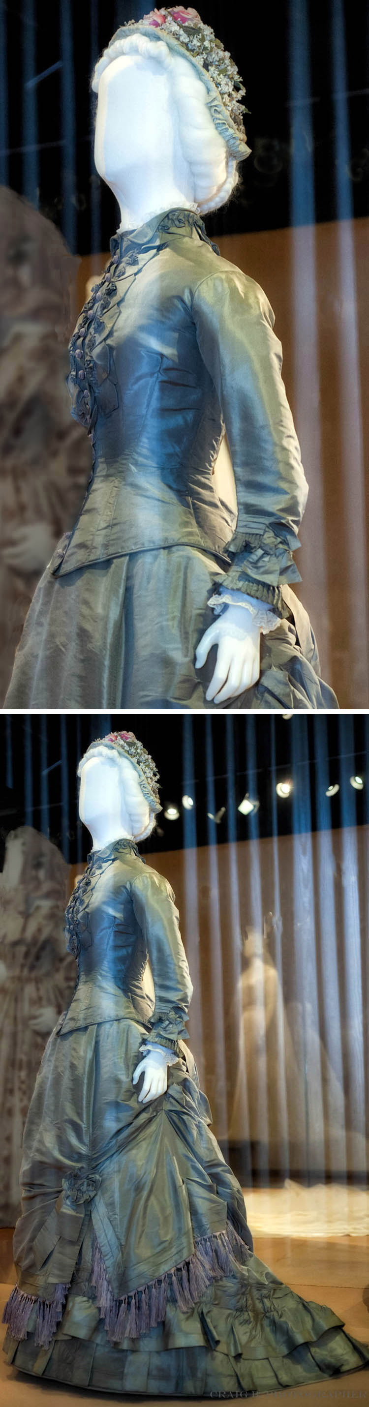 1870s wedding dress. Gray-green silk taffeta with silk fringe. Western Reserve Historical Society via Craig Brown, flickr