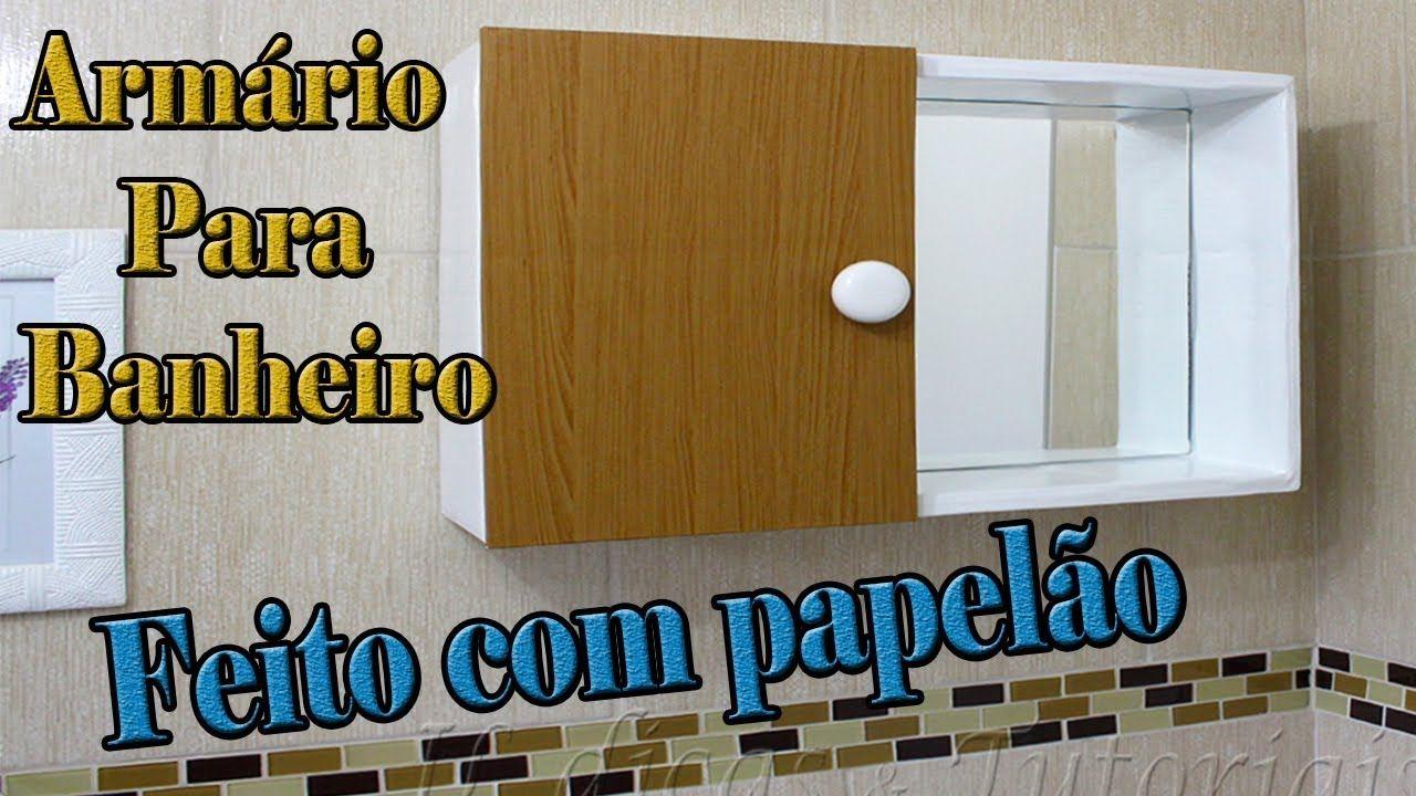 Armario Aereo Para Banheiro Com Espelho Feito Com Papelao