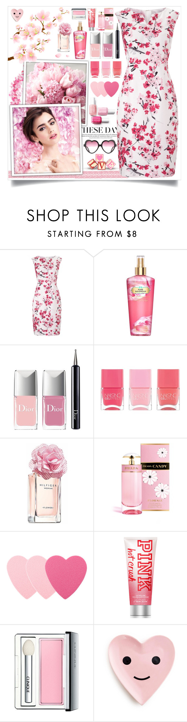 """Cherry Blossoms"" by angelstylee ❤ liked on Polyvore featuring Precis Petite, Victoria's Secret, Christian Dior, Nails Inc., Tommy Hilfiger, Prada, Sephora Collection, Clinique, Pink and cherry"