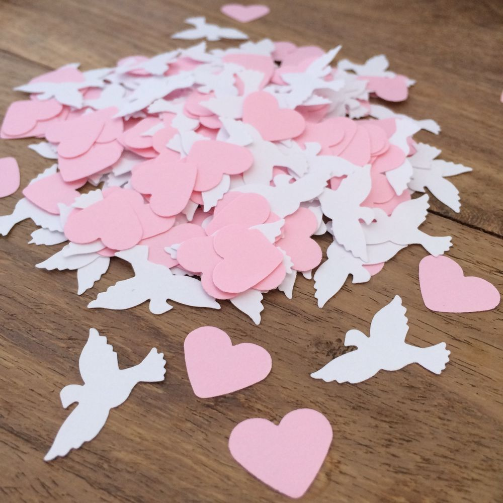 250 Pink & White Dove Table Top CONFETTI | Wedding/Birthday ...