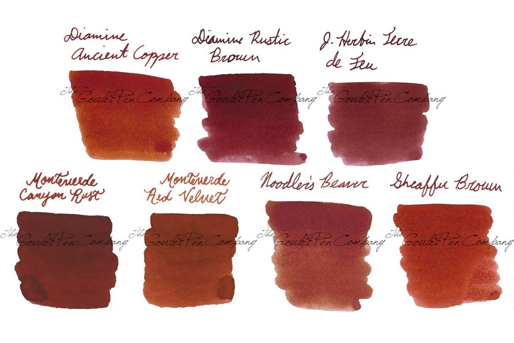 red orange brown sampler diamine ancient copper diamine rustic