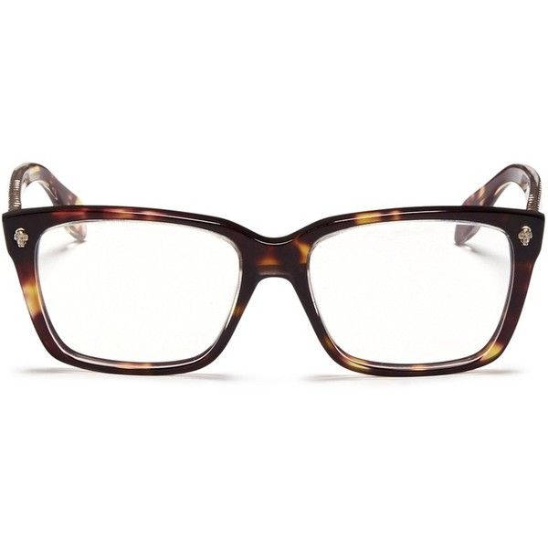 Alexander Mcqueen Skull stud square optical glasses ($285) ❤ liked on Polyvore featuring accessories, eyewear, eyeglasses, glasses, brown, alexander mcqueen eyewear, skull glasses, square eyeglasses, alexander mcqueen and square glasses
