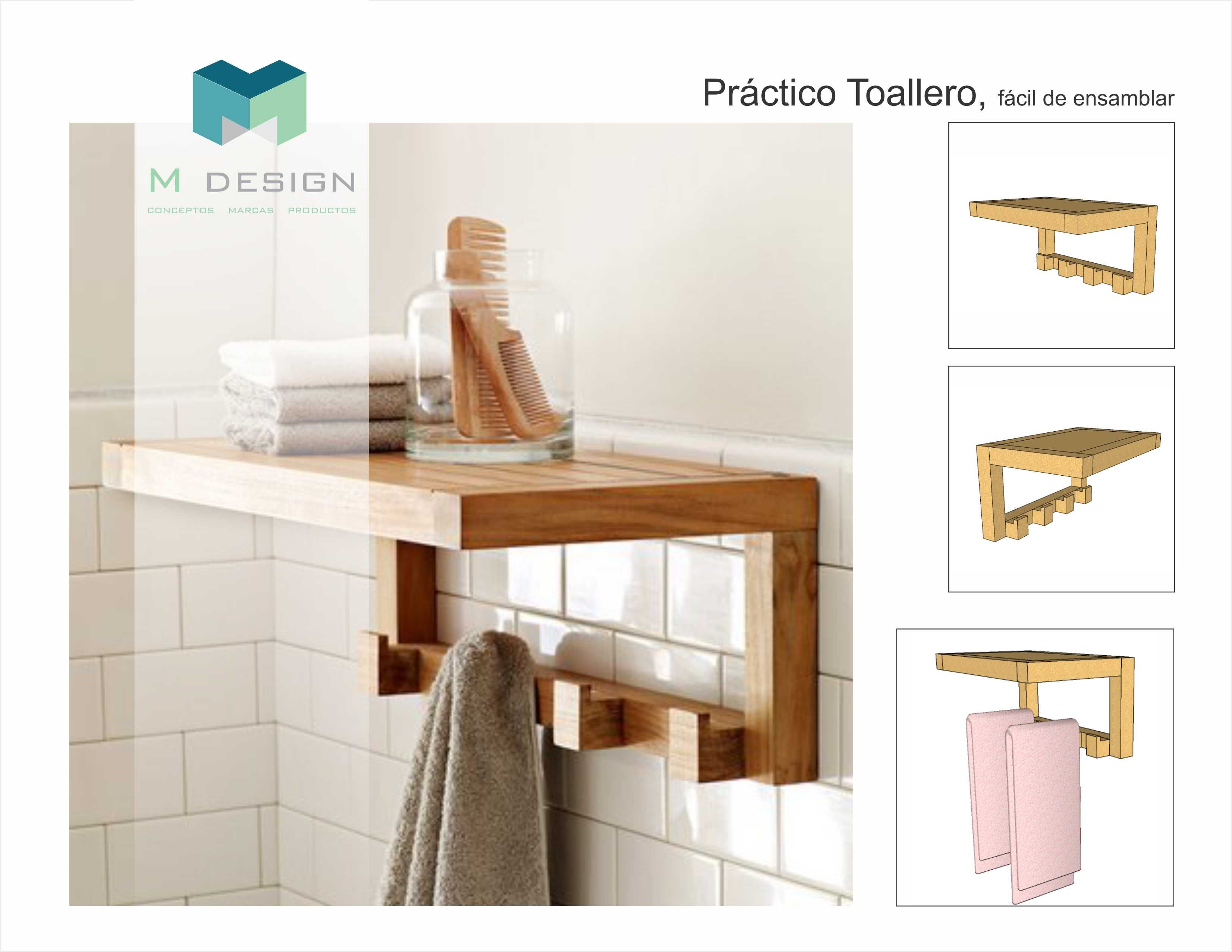 Toallero | Toallero de madera, Estantes del cuarto de baño ...