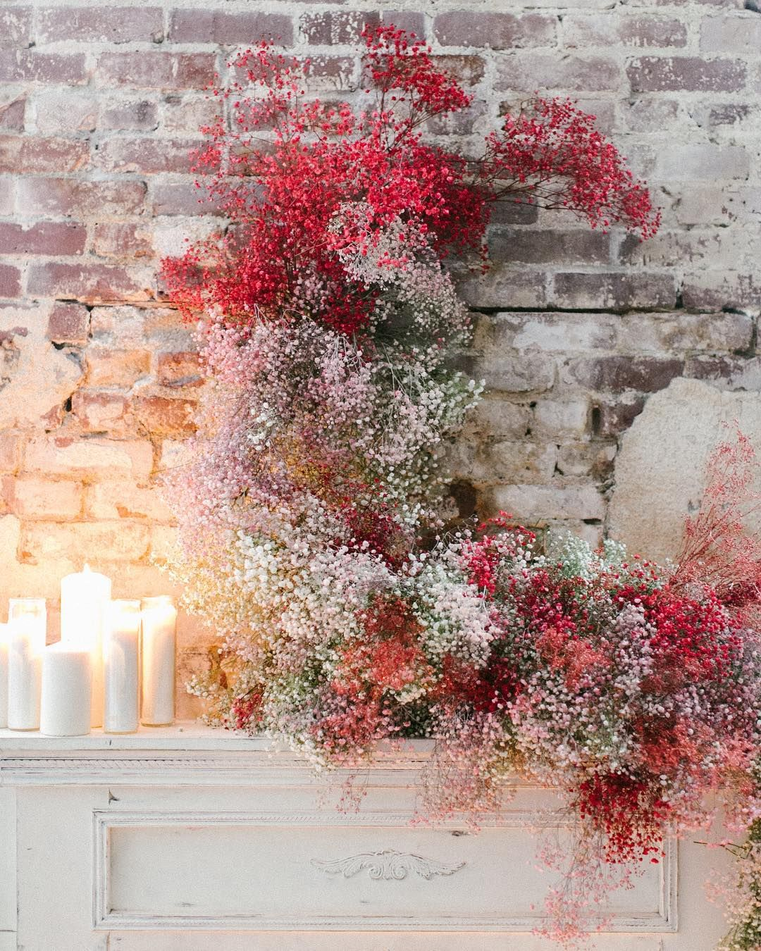 Fire Light Floral Baby S Breath Installation Mix Colors Lovely Flower Installation Floral Dried Flowers